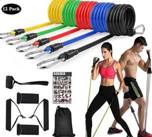 ADSDIA 12 Pack Resistance Bands for Men Women, Exercise Bands for Working Out or Home -Stackable Up to 100 lbs. Perfect Muscle Builder for Arms, Back, Leg, Chest, Belly, Glutes