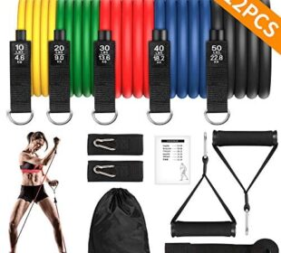 Resistance Bands Set, Exercise Bands with Non-slip Handle Fitness Workout Bands with Door Anchor Legs Ankle Straps Waterproof Carry Bag Stackable up to 150 lbs for Home Workouts Gyms Yoga [12 pcs]