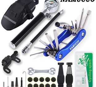 YBEKI Bike Tyre Repair Tool Kit - Bicycle Tool kit with 210 Psi Mini Pump 10-in-1 Multi-Tool(with Chain Breaker), Tyre Levers &Tire Patch, Bone Wrench, 1 Portable Bag. 6 Month