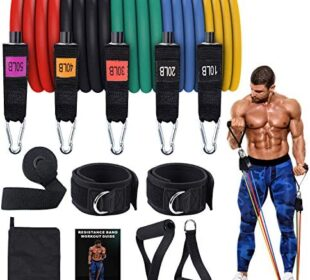 AQUAJOY Home Pro Gym Bands,Home Workout Equipment Resistance Gym Bands Set Stackable Up to 150 lbs Best Fitness Gifts for Men Women Training Legs,Ankle Arms,Physical Therapy,Yoga, Pilates