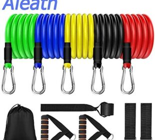Aleath Resistance Bands Set Exercise Bands, Home Workout Bands for Men and Women with Handles/Door Anchor/Ankle Straps - Resistance Training,Physical Therapy,Yoga,Pilates,Home Workouts Gym -11PCS
