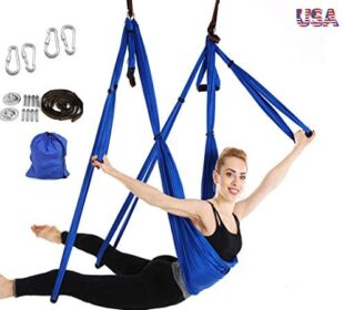 Amrta Yoga Flying Yoga Swing Yoga Hammock Trapeze Sling Inversion Tool for Gym Home Fitness with Ceiling Mounting Kit ,Adjustable Handles Extension Straps (Blue)