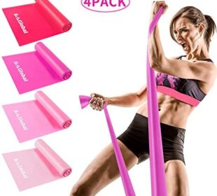 BAGLOBAL Resistance Bands Set, 4 Pack Latex Elastic Bands with 4 Resistance Levels, 6 ft. Long Stretch Bands for Physical Therapy, Yoga, Pilates, Rehab, at-Home or The Gym Workouts, Strength Training