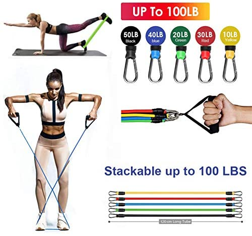 Beyoung Exercise Strength Resistance Bands Sets - Fitness Bands with Door Anchor Handles,5 Resistance Loop Bands,Ankle Straps, Carrying Pouch, Home Workout Gym Equipment for Men Women (17Pack)