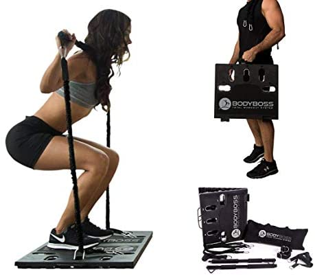 BodyBoss 2.0 - Full Portable Home Gym Workout Package + Resistance Bands - Collapsible Resistance Bar, Handles - Full Body Workouts for Home, Travel or Outside (Renewed)