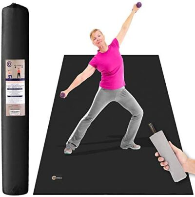 "CAMBIVO Large Exercise Mat, 6' x 4' x 1/4"" Workout Mats for Home Gym Flooring, High Density, Shoe Friendly, Durable Wide Cardio Mat, Ideal for Plyo, MMA, Jump Rope, Stretch, Fitness"