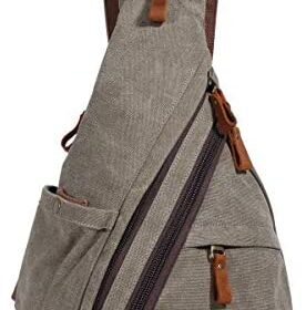 Canvas Sling Bag - Small Crossbody Backpack Shoulder Casual Daypack Rucksack for Men Women Outdoor Cycling Hiking Travel