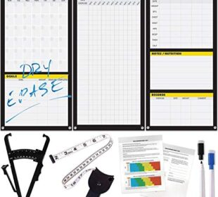 Dry Erase Workout Calendar Poster - Fitness Planner, Body Fat Caliper & Tape
