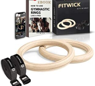FITWICK Wooden Gymnastics Rings with Adjustable Straps, Olympic Rings 1600Lbs, Non-Slip 15Ft Long Gym Exercise Rings for Full Body Workout, Fitness, Pull up, Crossfit Rings for Men and Home Gym