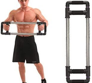 GoFitness Push Down Bar Machine - Chest Expander at Home Workout Equipment - Portable Spring Resistance Exercise Gym Kit for Home, Travel or Outdoors