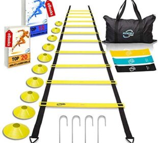 Invincible Fitness Agility Ladder Training Equipment Set, Improves Coordination, Speed, Power and Strength, Includes 10 Cones, 4 Hooks and 3 Loop Resistance Bands for Outdoor Workout