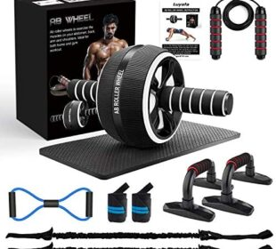 LUYATA Ab Roller Wheel, 10-in-1 Ab Wheel Roller Kit with Resistance Bands, Knee Mat, Jump Rope, Push-Up Bar - Home Gym Equipment for Men Women Core Strength & Abdominal Exercise Workout