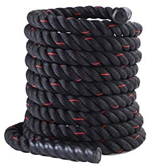 """MOVSTAR Battle Rope, 1.5"""" Width Poly Dacron 30/40ft Length Fitness Rope, Undulation Rope Climbing Rope for Cross Training, Weight Training and Crossfit, Equipment for Home Gym, Anchor Included"""