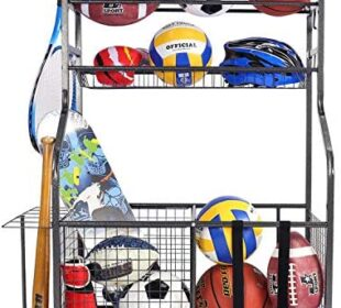 Mythinglogic Garage Storage System, Garage Organizer with Baskets and Hooks, Sports Equipment Organizer for Kids, Ball Rack, Garage Ball Storage, Sports Gear Storage, Black, Powder Coated Steel