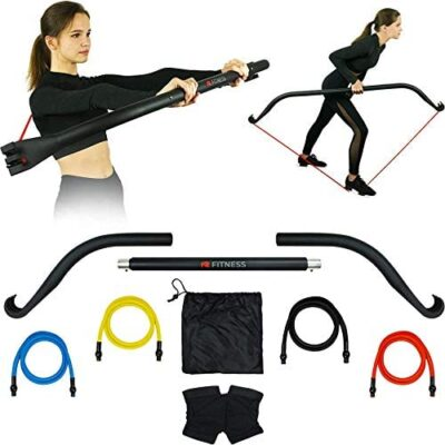 NR Bow - Home Gym Resistance Bands and Bar System for Travel, Fitness, Weightlifting and Exercise Kit, Full Body Heavy Workout Equipment