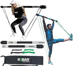 R3BAR AlphaPro Full Portable Exercise Home Gym Workout Training Equipment– Includes Bar, Resistance Bands, Travel Bag – New Bonus – 3-25 Minute Virtual Workouts Included