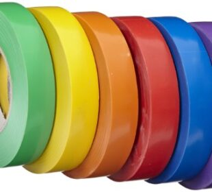 School Specialty Vinyl Gym Tape School Pack - 1 inch x 60 yards - Set of 6 - Assorted Colors