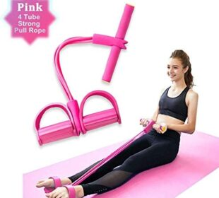 TECCO Pedal Resistance Band,Elastic sit up Bands with Pilates Fitness Equipment 4-Tube Pull Rope Multifunctional Tension Rope Weight Loss at Home Gym Yoga Workout Equipment