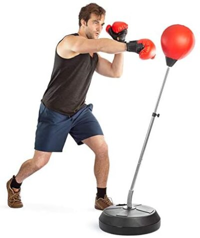 Tech Tools Punching Bag Reflex Boxing Bag with Stand, Height Adjustable - Freestanding Punching Ball Speed Bag - Great for MMA Training, Stress Relief & Fitness