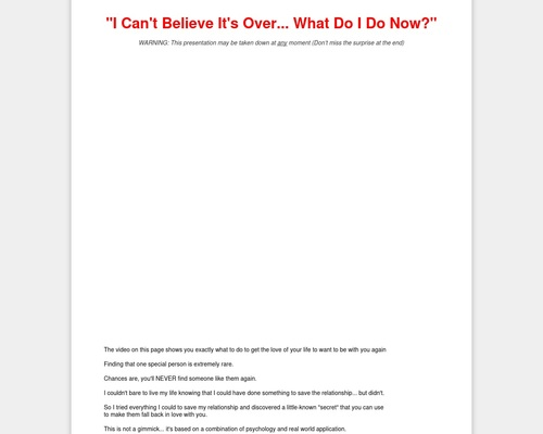 The Breakup Cure - Over $1,500,000 In Testing On Cold Traffic