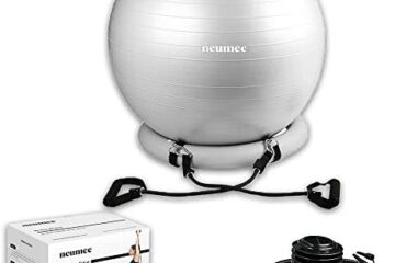 NEUMEE Yoga Exercise Ball & Stability Base with Resistance Bands for Home Gym & Office | Premium Quality Ball Chair for Fitness | Equipment for Women and Men | Improve Balance and Posture