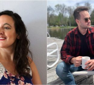 The right photo shows a woman with brown curly hair staring off into the distance. The right photo shows a man in sunglasses wearing a flannel shirt while holding coffee. Both of these people make money freelancing for Medium.