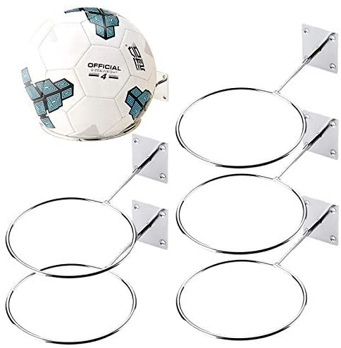 Cooyeah 5Pack Ball Holders Wall Mount Sports Exercise Ball Storage Rack Organizer for Display Basketball Volleyball Soccer Football Medicine Ball Under 11 LB,Ball Inner Diameter 5.6in