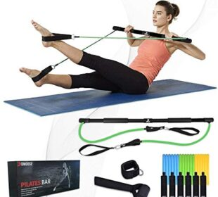 DMoose Fitness Portable Pilates Exercise Bar, Home Gym Resistance Band for Full Body Workout, Excellent for Yoga, Stretching, Sculpting, Resistance Training and Fitness