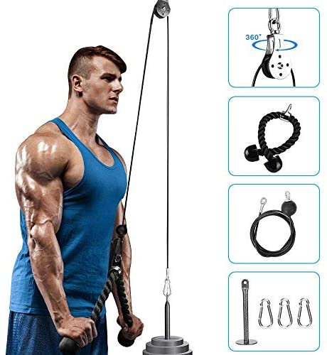 Elikliv Pulley Cable Machine System with Loading Pin Triceps Strap Muscle Strength Fitness Pulley System Gym Equipment Forearm Wrist Roller Trainer for Pulldowns, Biceps Curl, Triceps Extensions