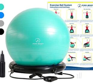 Exercise Ball Chair System - Yoga and Pilates 65 cm Ball with Stability Base and Workout Resistance Bands for Gym, Home, or Office