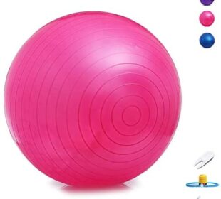 Exercise Ball Yoga Ball Equipment 65cm - Great for Balance, Fitness, Stability, Workout at Home for Women Men, Anti Burst, No Slip, Quick Pump Included