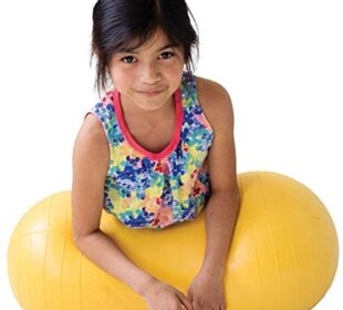 "Fun and Function Peanut Ball for Kids, Yellow Medium 15.5""H 30""L, Fitness, Exercise, Dynamic Seating Option for School or Home, Supports Children with Motor Delay, Autism & Sensory Processing Disorder"