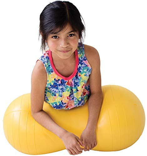 """Fun and Function Peanut Ball for Kids, Yellow Medium 15.5""""H 30""""L, Fitness, Exercise, Dynamic Seating Option for School or Home, Supports Children with Motor Delay, Autism & Sensory Processing Disorder"""