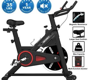 GEONEO Stationary Bikes, Exercise Bike, Magnetic Silent Belt Drive Indoor Cycling Bike, 35 LBS Chromed Flywheel Workout Bike for Home Indoor Riding Gym