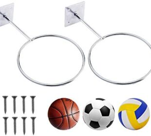 Giveme5 Wall-Mounted Basketball Rack, Metal Sports Ball Wall Holder Storage Rack Ball Mount Display Stand for Basketballs, Soccer Ball, Football, Volleyball, Exercise Ball – Screws Include