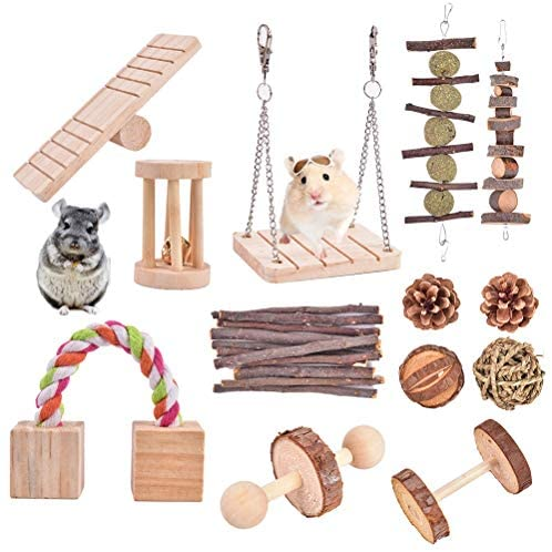 Hopeson 13 Pcs Hamster Chew Toys, Natural Wooden, Toys Accessories Dumbells Exercise, Bell Roller, Seesaw, Roller Swing, Teeth Care Molar, for Guinea Pigs Rabbits Chinchilla Rat Hedgehog Bunny