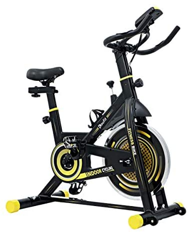 Indoor Cycling Bike Stationary, Doufit EB-06 Exercise Bike for Home Gym Cardio Workout, Stationary Bicycle with Tablet Mount, Pulse Sensor and LCD Monitor