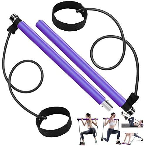 Long Resistance Bands Pilates Bar Kit, Home Gym Equipment for Women Body Workout, Portable Exercise Stick Handle with Foot Loops for Legs Butt Waist Yoga Fitness Squats Muscle Training Set