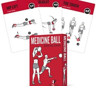 "Medicine Ball Exercise Cards, Set of 62 - for a High Intensity Home or Gym Workout :: 50 Exercises for All Fitness Levels :: Extra Large 3.5 x 5"", Waterproof & Durable, with Diagrams & Instructions"