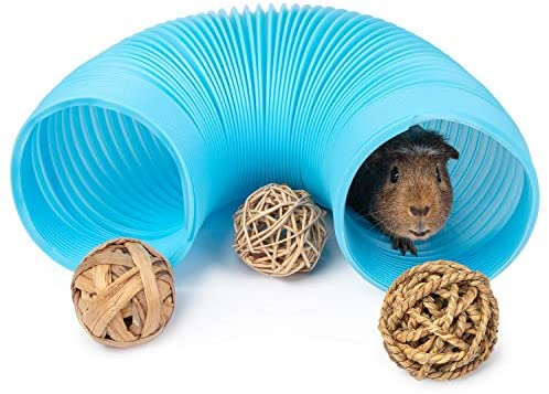 Niteangel Fun Tunnel with 3 Pack Play Balls for Guinea Pigs, Chinchillas, Rats and Dwarf Rabbits