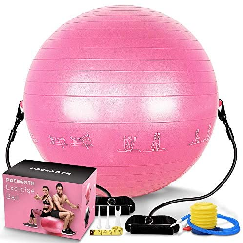 PACEARTH Exercise Ball for Home Gym Office, 65cm Exercise Exercise Ball, Anti-Burst Heavy Stability Fitness Balance Birthing Workout Ball for Pilates
