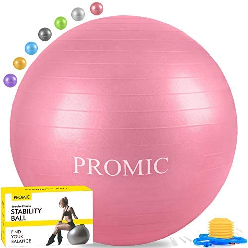 PROMIC Exercise Ball (45-85cm) with Quick Foot Pump, Professional Grade Anti Burst & Slip Resistant Stability Balance Ball for Yoga, Workout, Cardio Drumming, Classroom, Work Chair (8 Colors)