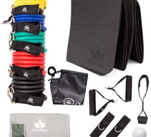 Resistance Bands Home Exercise Equipment - 5 Bands with Handles, Door Anchor, Ankle traps, Cooling Towel, Folding Exercise Mat, Massage Ball, and Carry Bag - Home Gym Workout Bands for Men Women