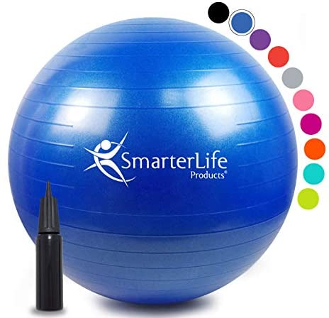 SmarterLife Exercise Ball for Yoga, Balance, Stability - Fitness, Pilates, Birthing, Therapy, Office Ball Chair, Classroom Flexible Seating - Anti Burst, No Slip, Workout Guide