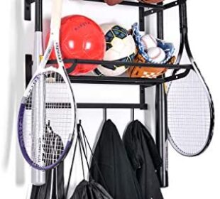 Sunix Sports Equipment Storage, Ball Storage Rack Basketball Holder Wall Mount Shelf with Hooks, 2 Racks, Black