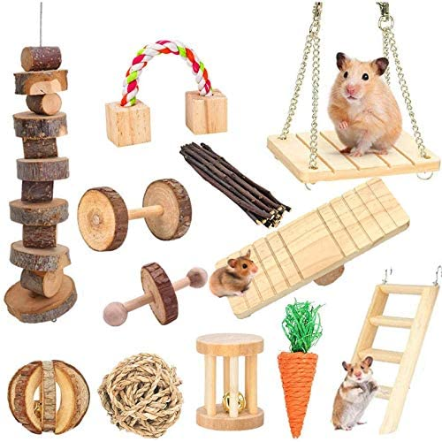 Supmaker Hamster Chew Toys, Pet Bunny Tooth Chew Toys Natural Wooden Gerbil Rats Chinchillas Toys Accessories Dumbells Exercise Bell Roller Teeth Care Molar Toy for Birds Bunny Rabbits Gerbils