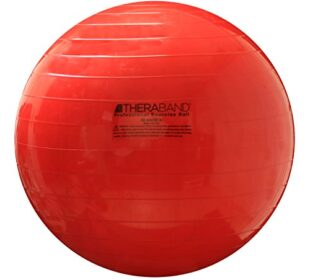 """TheraBand Exercise Ball, Stability Ball with 55 cm Diameter for Athletes 5'1"""" to 5'6"""" Tall, Standard Fitness Ball for Posture, Balance, Yoga, Pilates, Core, Rehab, Red"""