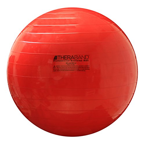 "TheraBand Exercise Ball, Stability Ball with 55 cm Diameter for Athletes 5'1"" to 5'6"" Tall, Standard Fitness Ball for Posture, Balance, Yoga, Pilates, Core, Rehab, Red"