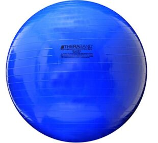 """TheraBand Exercise Ball, Stability Ball with 75 cm Diameter for Athletes 6'2"""" to 6'8"""" Tall, Standard Fitness Ball for Posture, Balance, Yoga, Pilates, Core, & Rehab, Blue"""