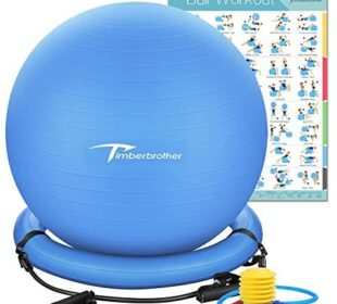 "Timberbrother Exercise Ball Chairs with Resistance Bands Workout Poster 16.5""x 22.4"",Stability Ball Base for Gym and Home Exercise"